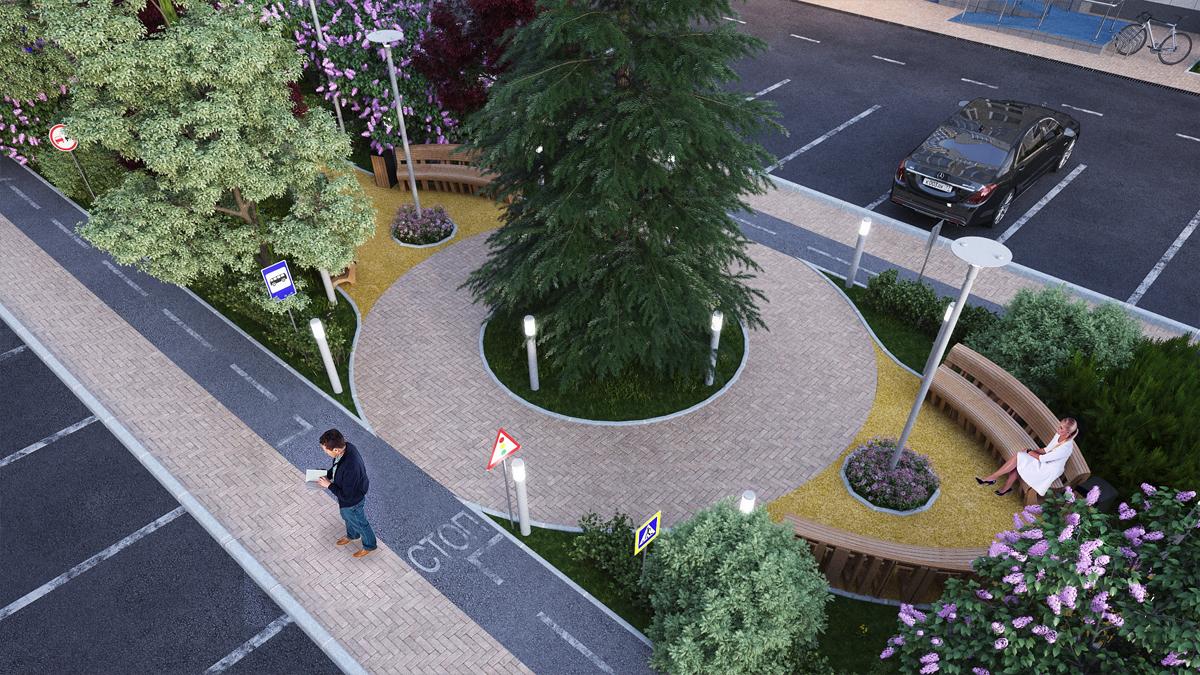 озеленение двора многоквартирного дома
